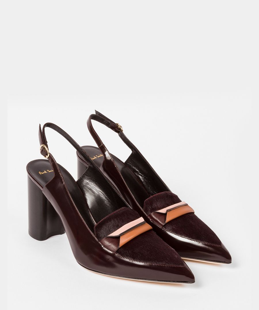 Bordeaux leather pointed slingback heels