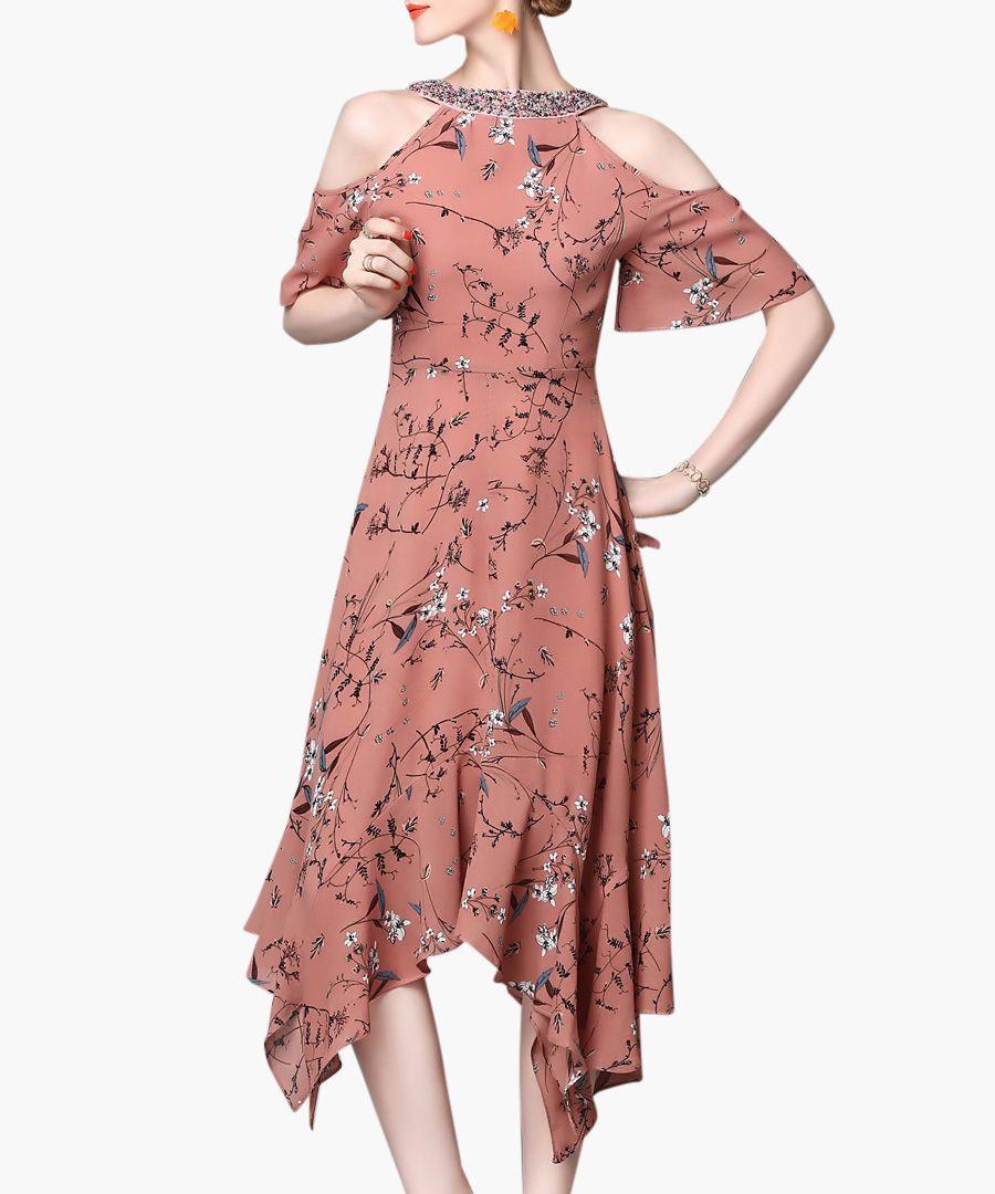 Brick floral cold-shoulder dress