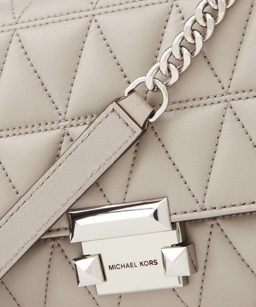 Sloan grey quilted leather shoulder bag