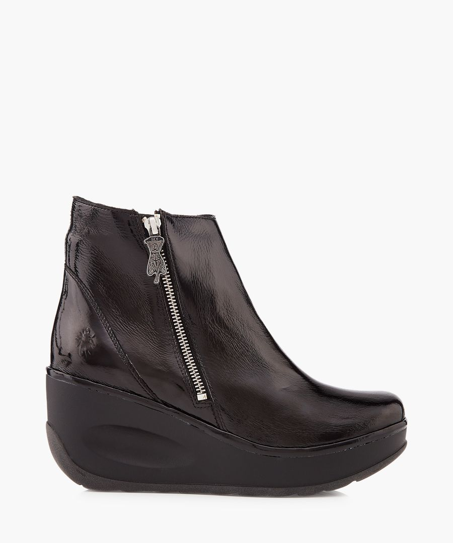 Janine black leather wedge boots