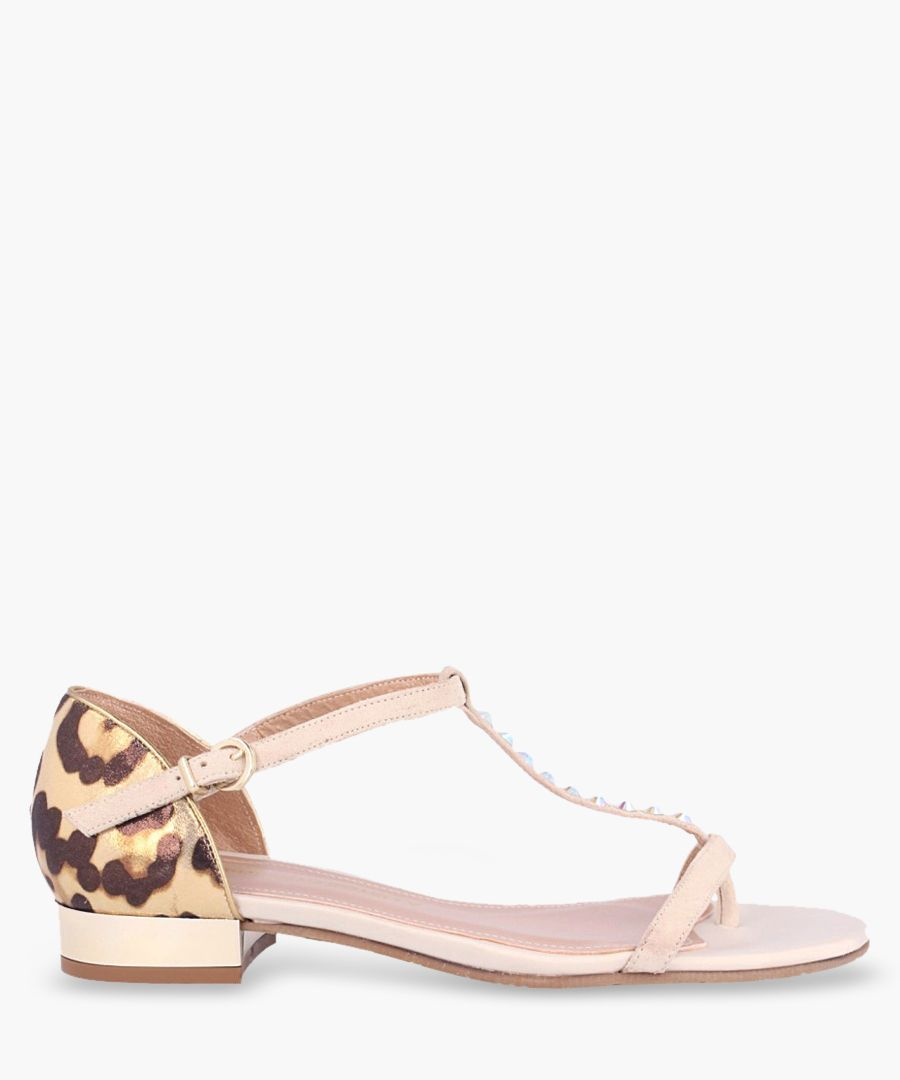 Pink leather print T-bar sandals