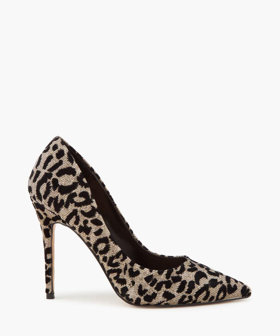 Krisp pewter animal print court heels