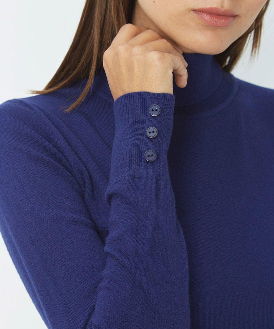 Blue cashmere blend roll neck jumper