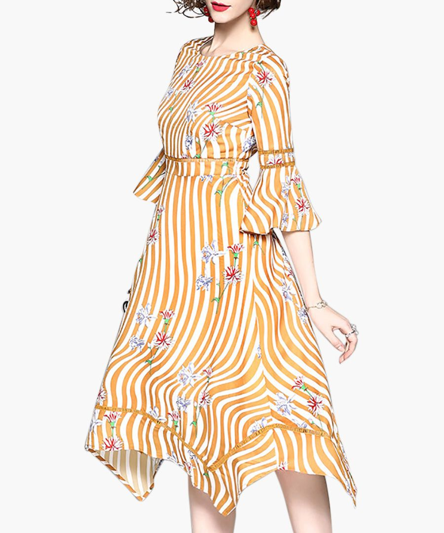 Yellow striped floral 3/4 sleeve dress
