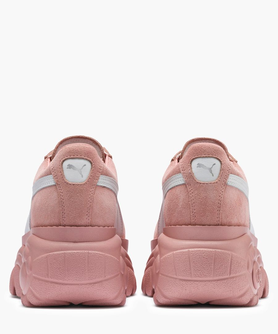 Buffalo mellow rose suede trainers