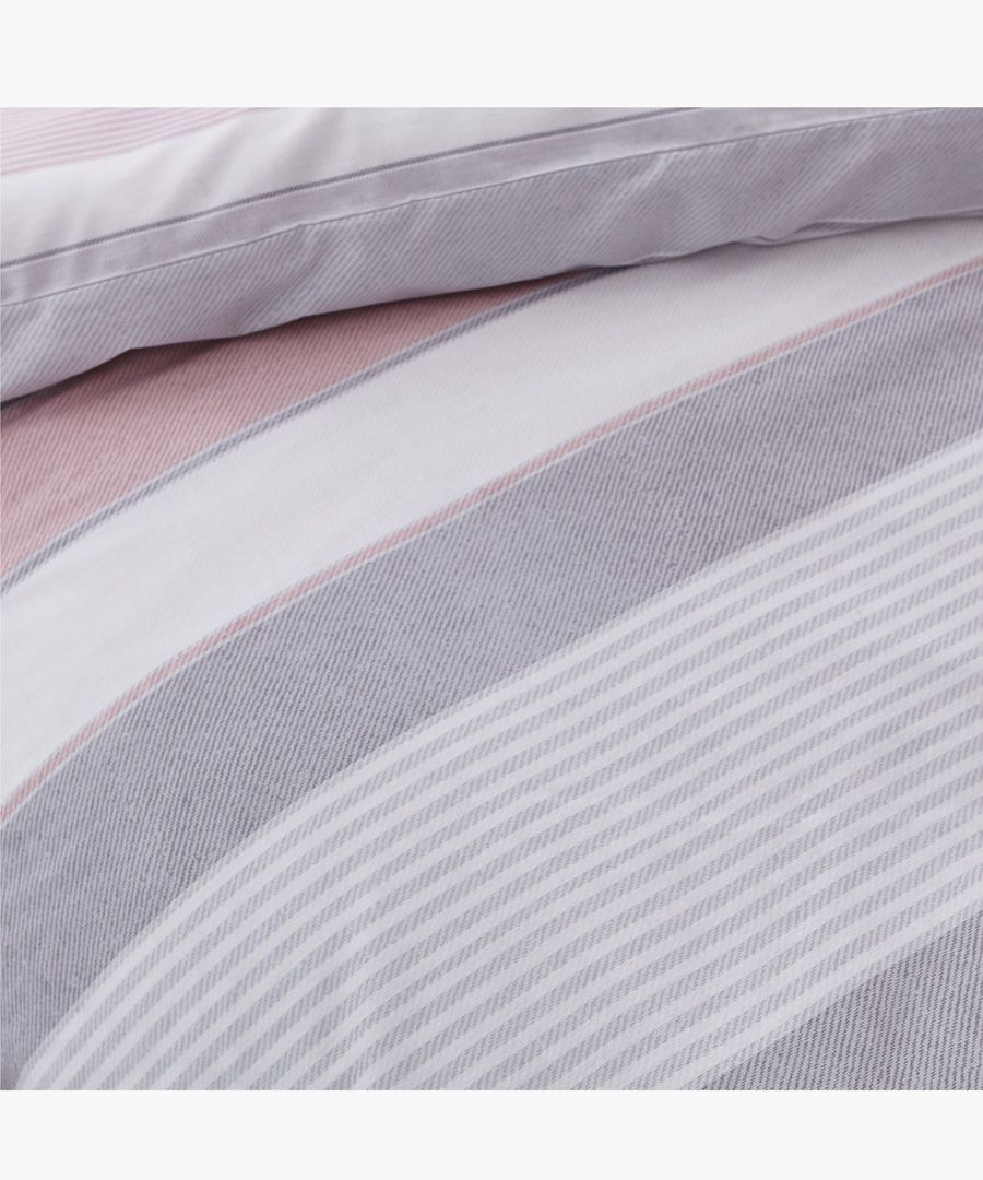 Newquay stripe pink cotton blend single duvet set
