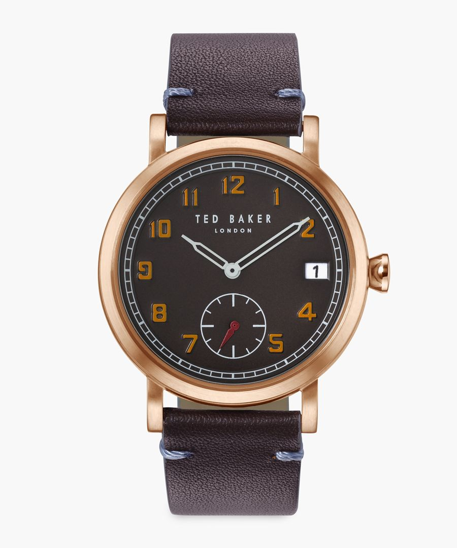 Logan brown leather and stainless steel watch