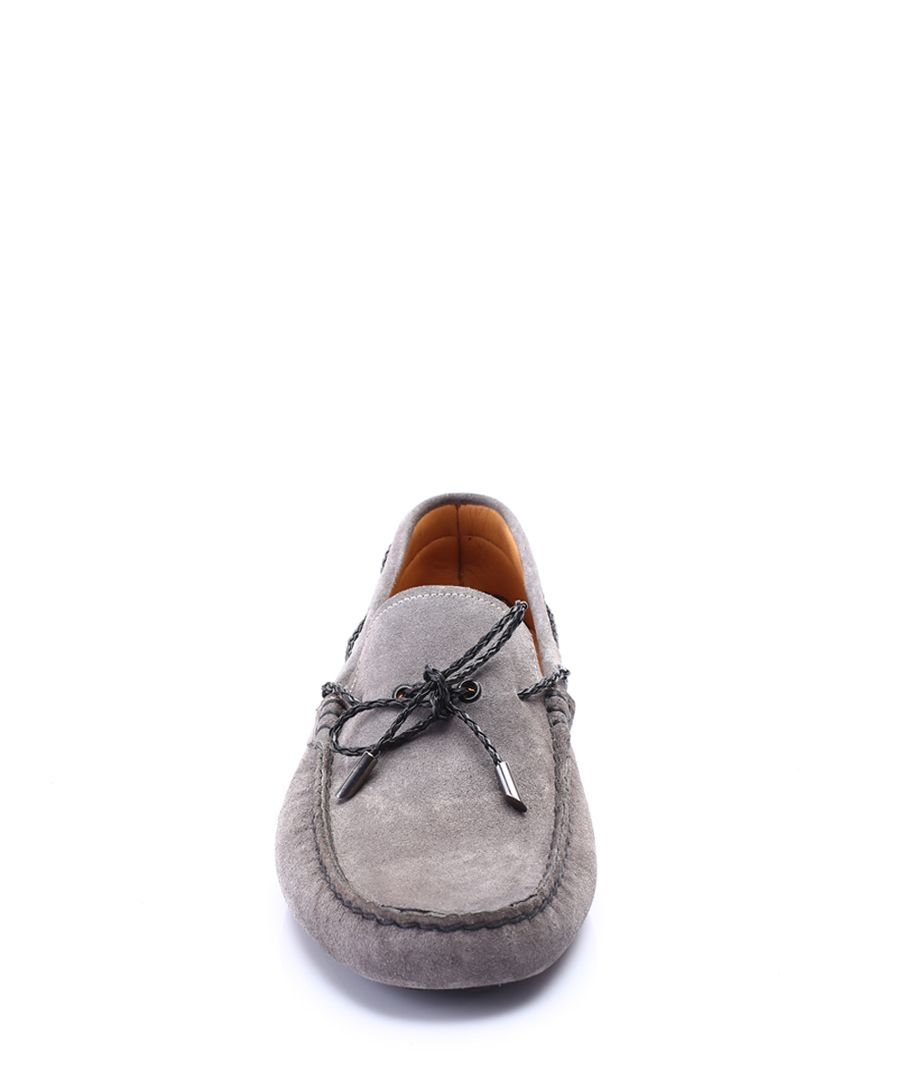Grey leather loafers
