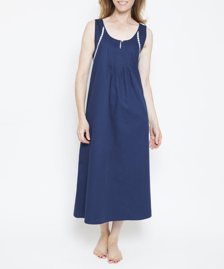 Adele navy blue pure cotton nightdress
