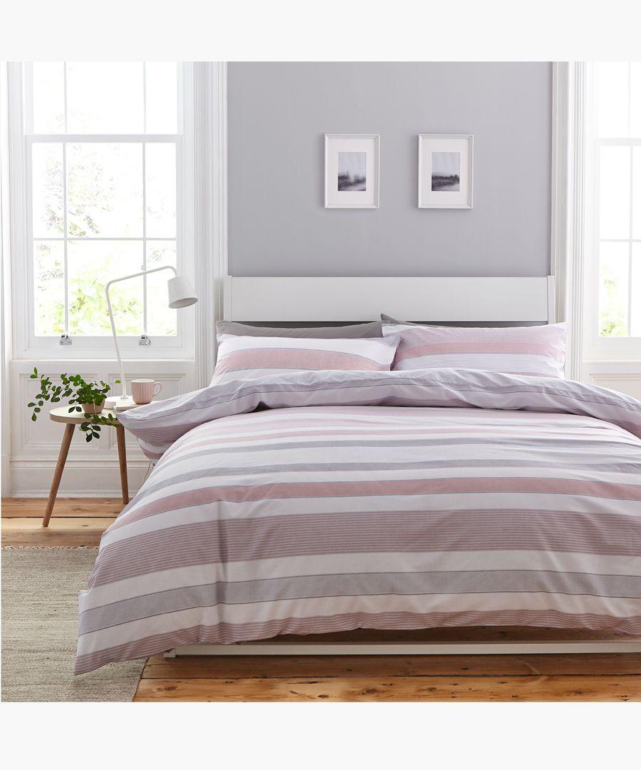 Newquay stripe pink cotton blend king duvet set