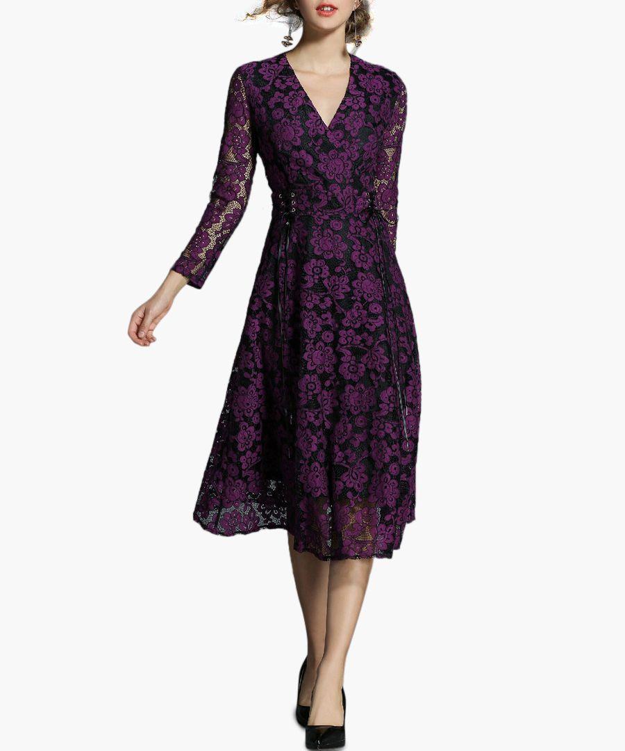 Violet lace wrap midi dress