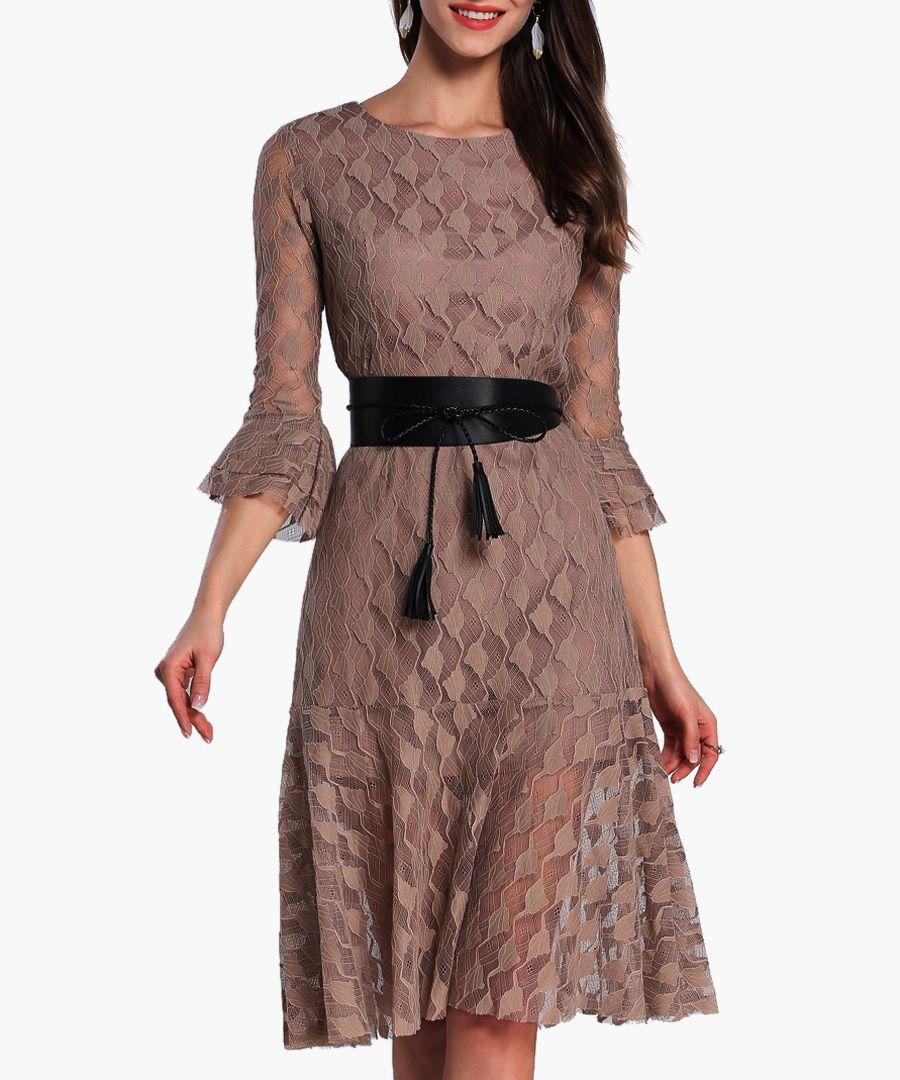 Brown flared sleeve belted waist dress