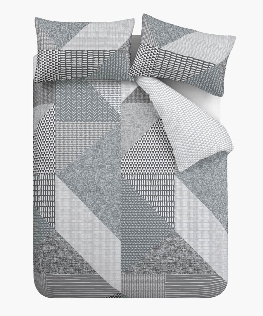 Larsson geo grey cotton blend single duvet set