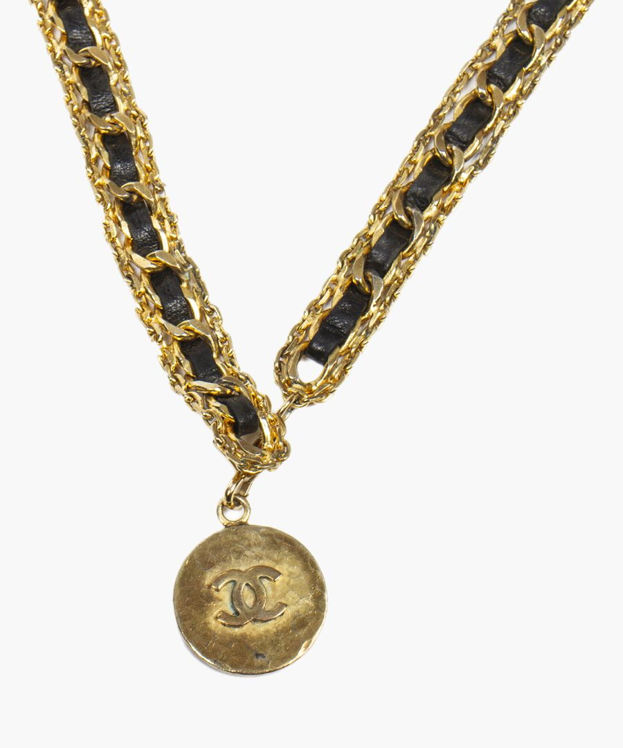 Vintage gold-plated and black necklace