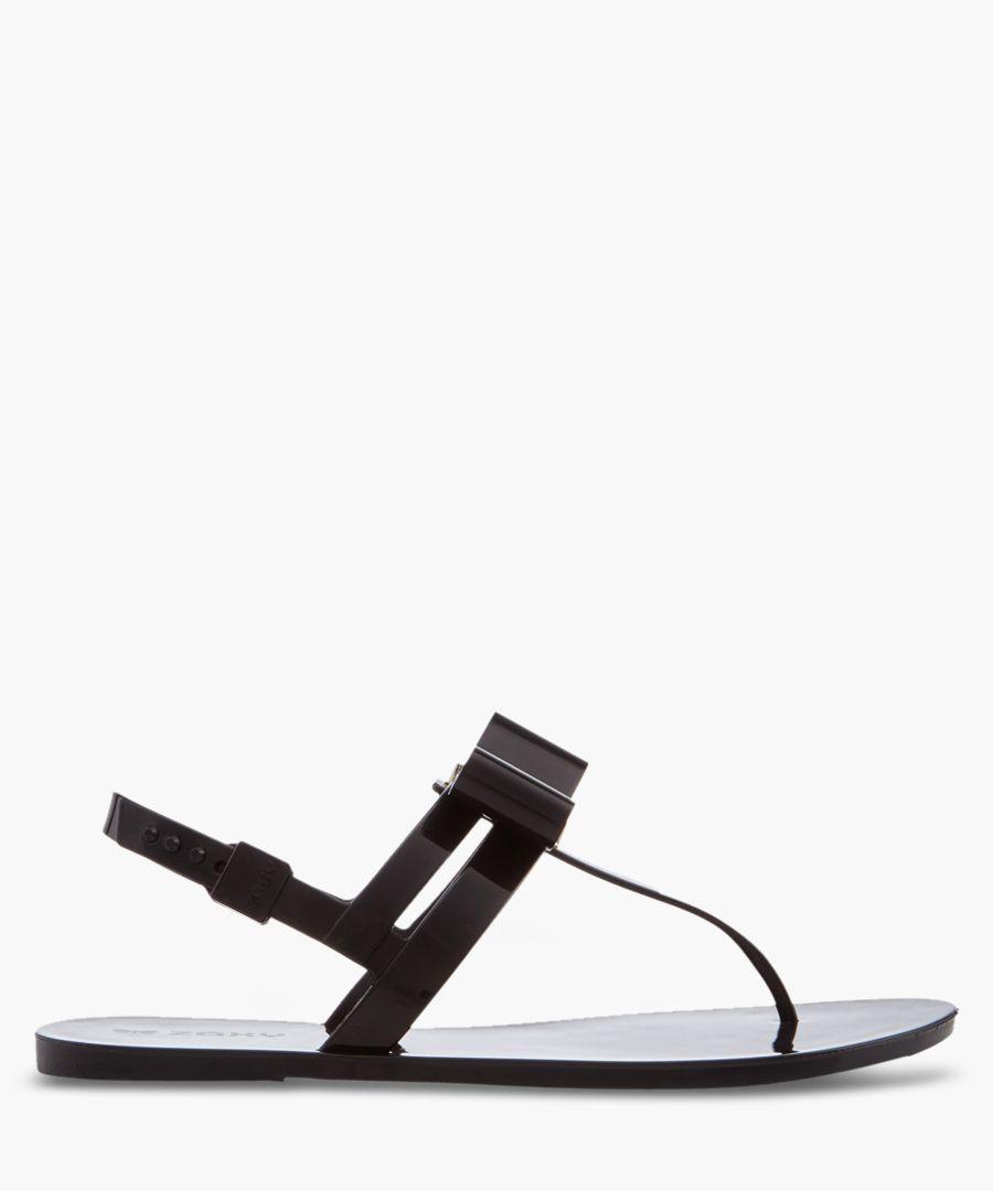 Glaze black T-bar sandals