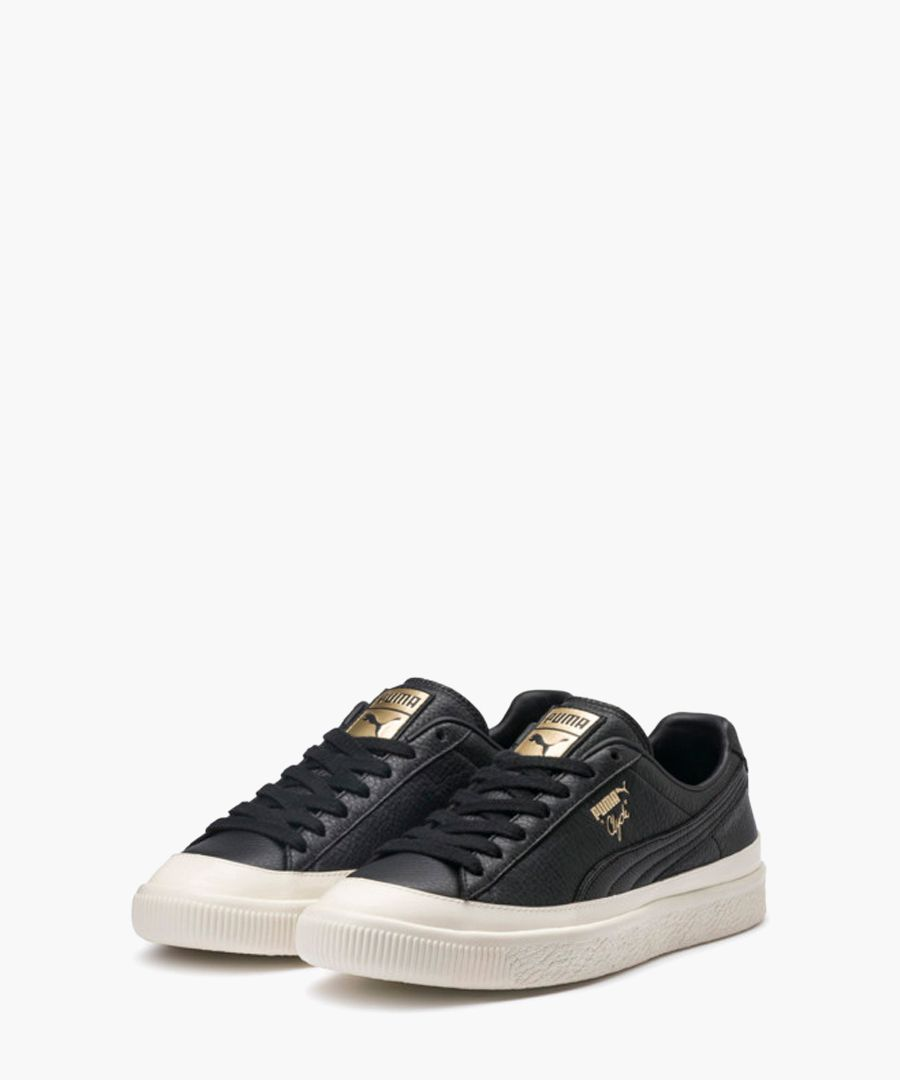 Clyde Rubber Toe black leather trainers
