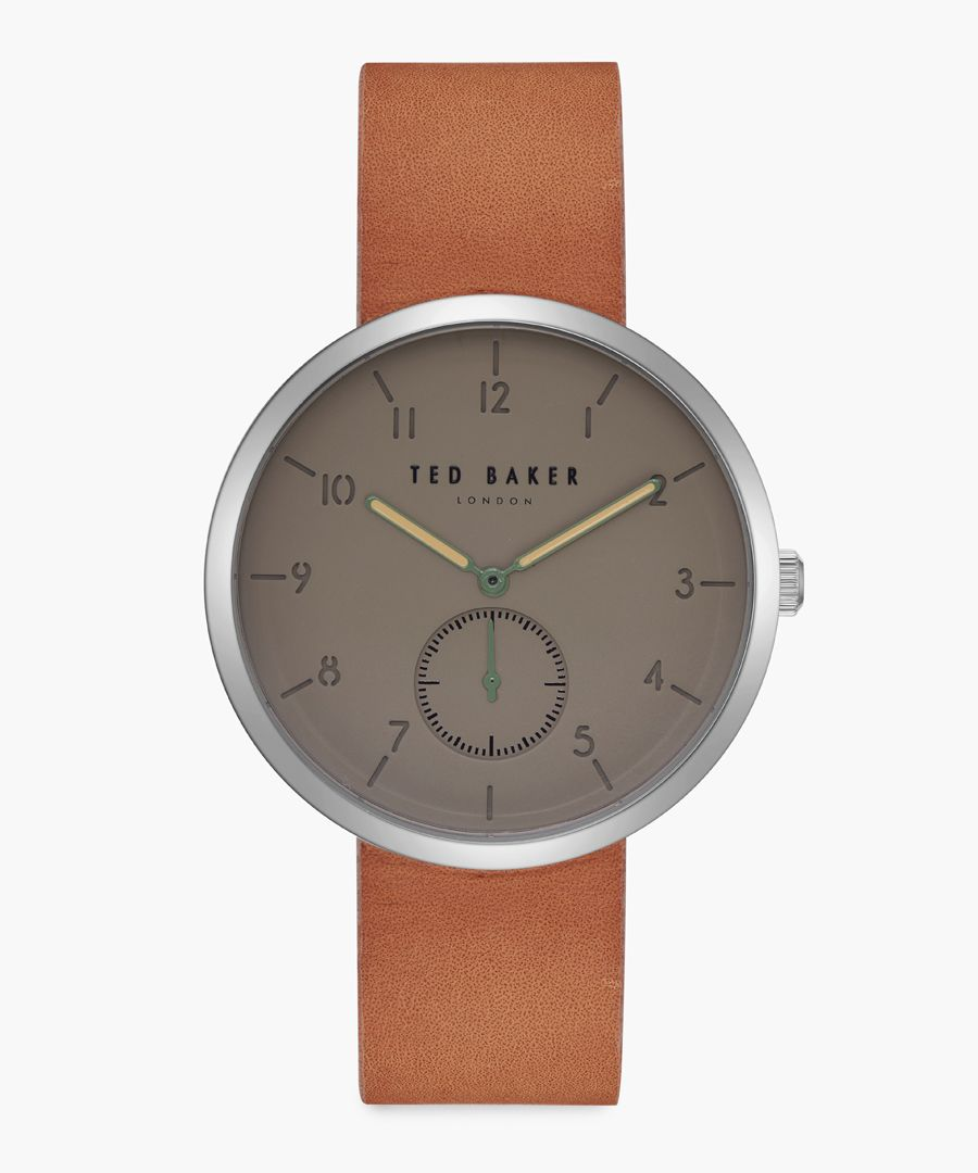 Josh tan leather and stainless steel watch