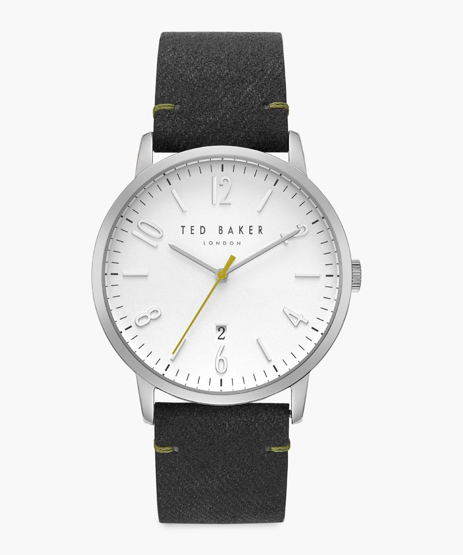 Daniel grey leather and stainless steel watch
