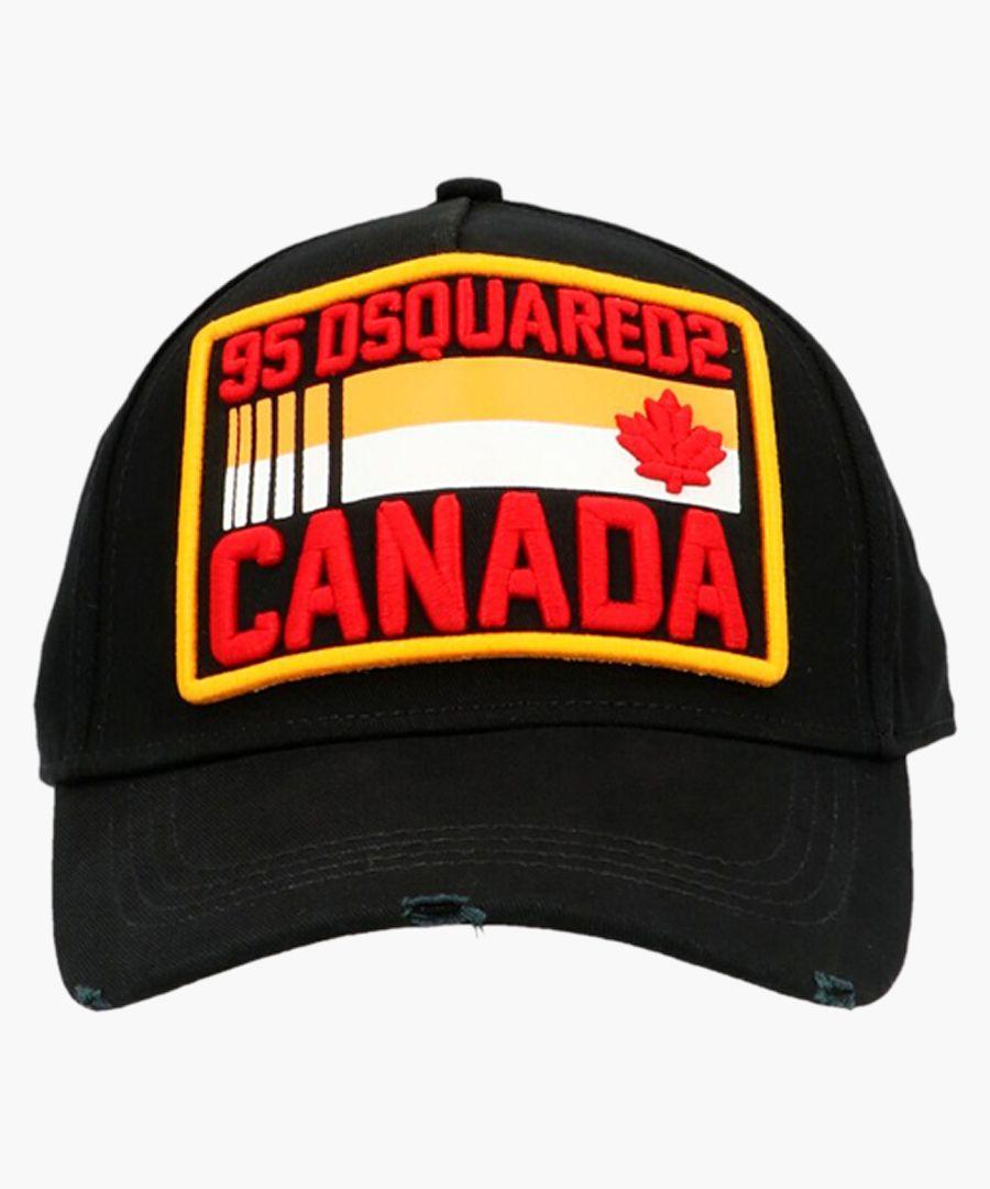 Black cotton logo patch baseball cap