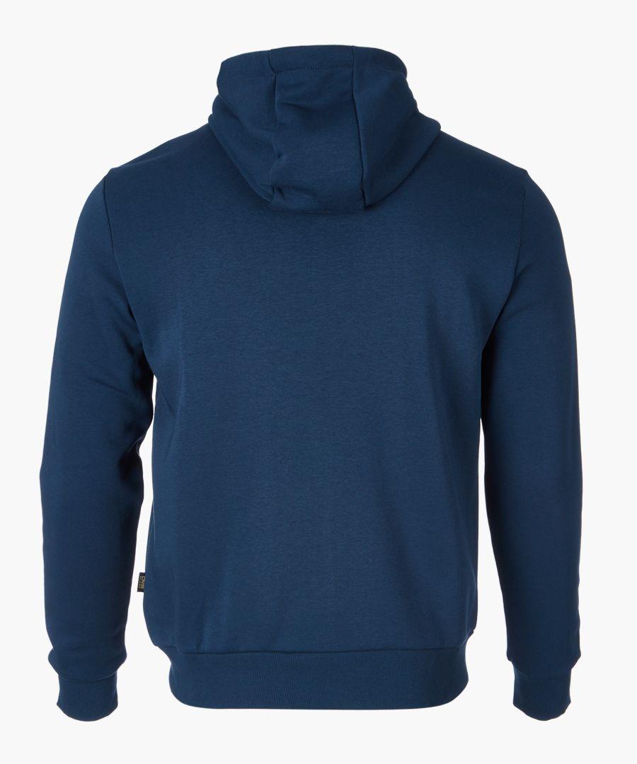 Blue logo printed hoodie