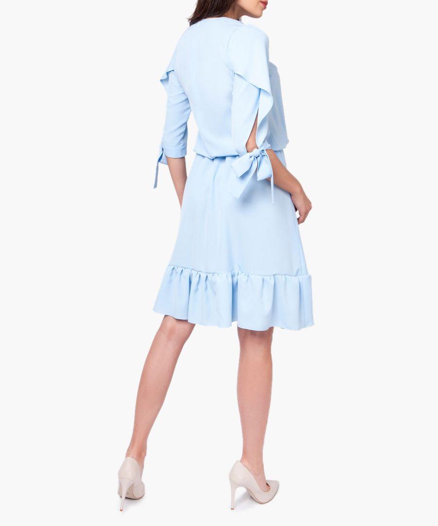 Pastel blue ruffle hem dress
