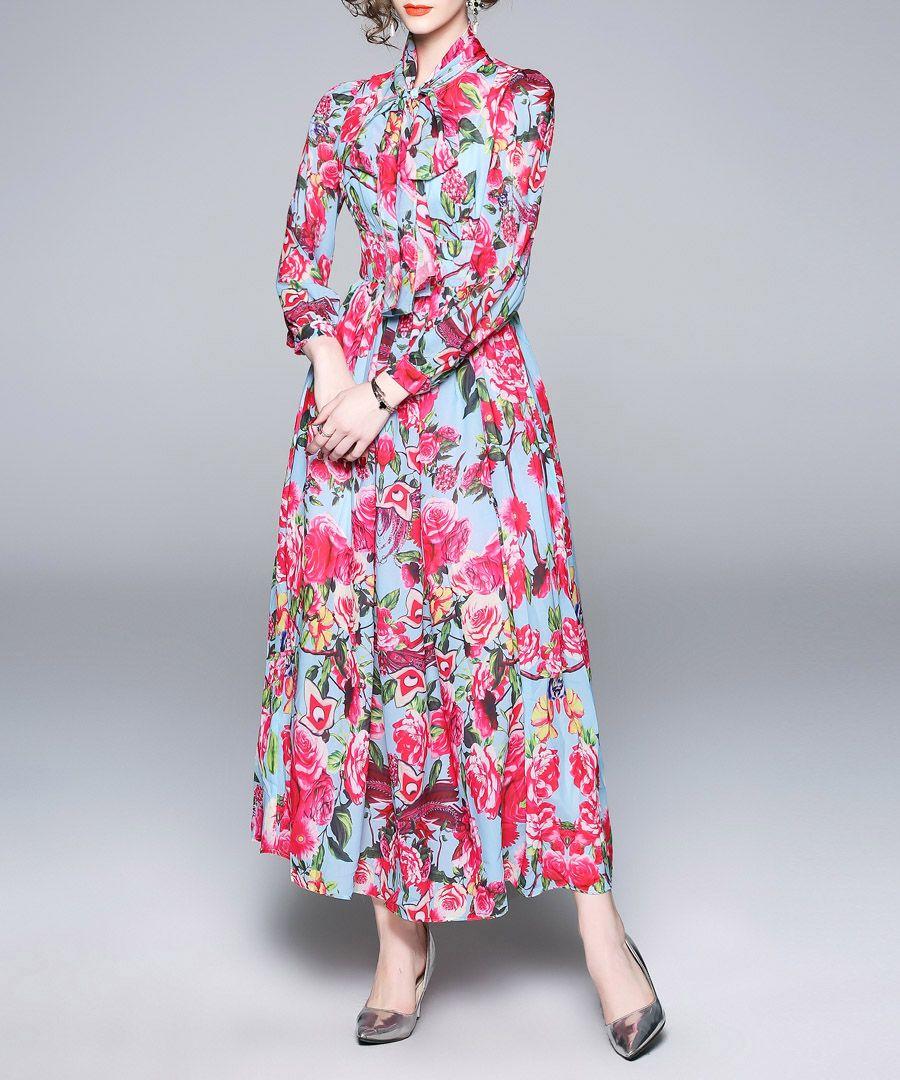 Blue & pink rose print maxi dress