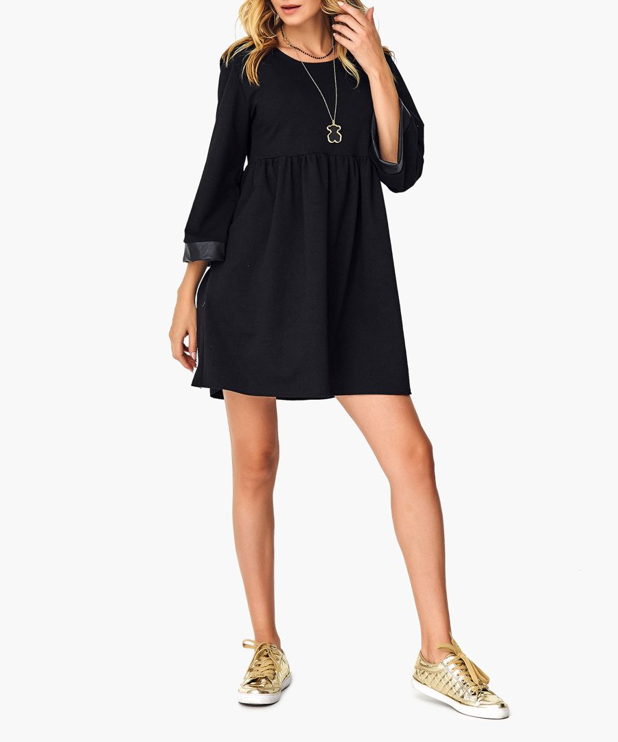 Black and camel cotton blend dress