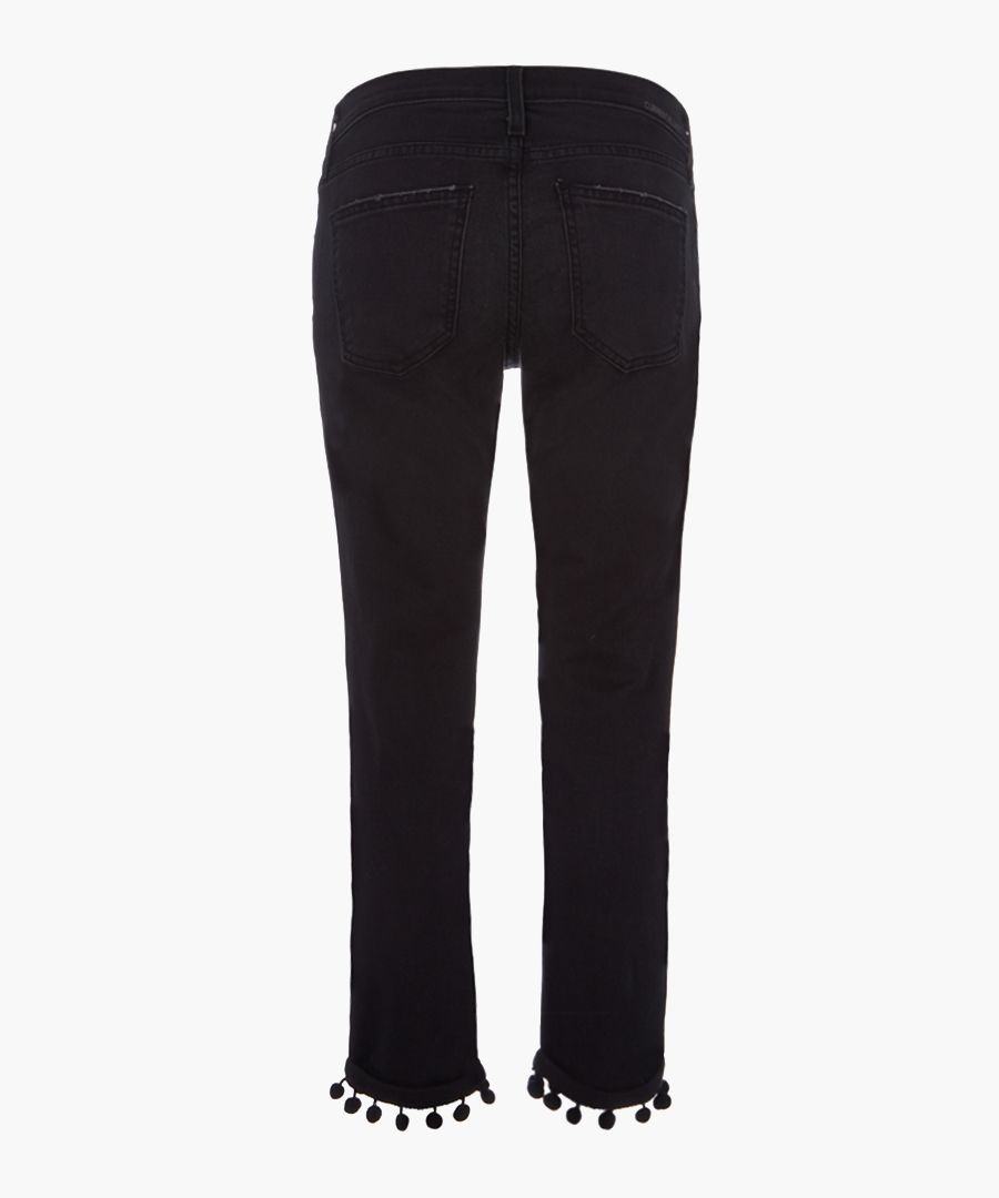 The Cropped Straight cotton pompom jeans