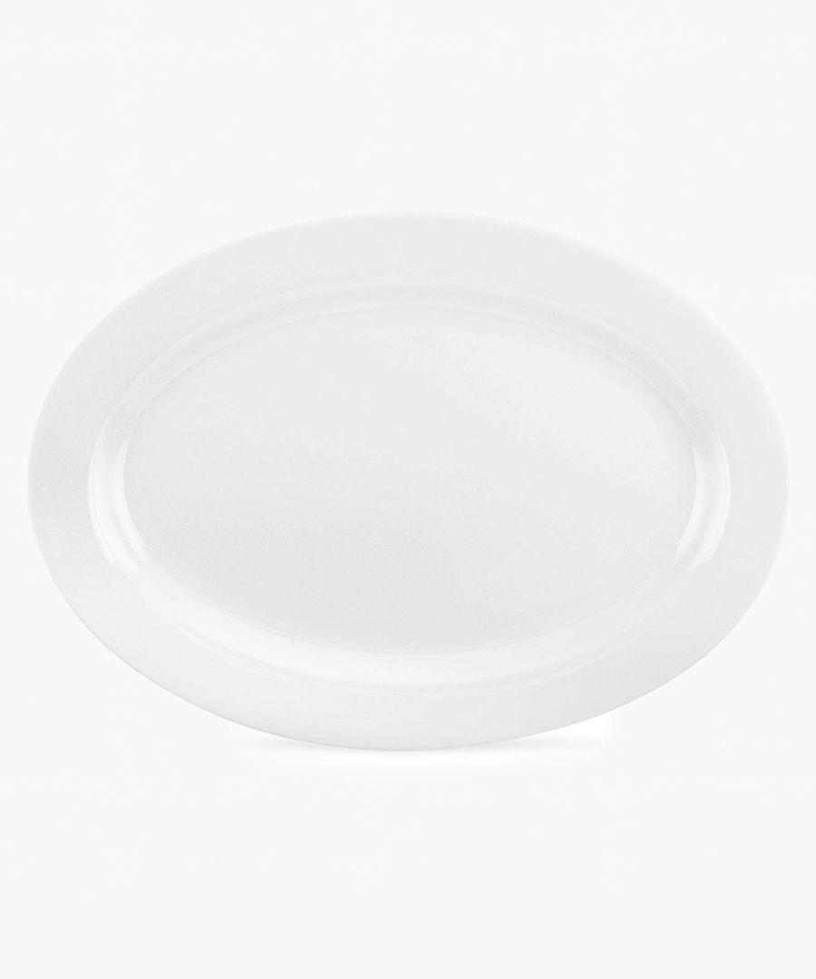 Serendipity plain white bone china oval platter
