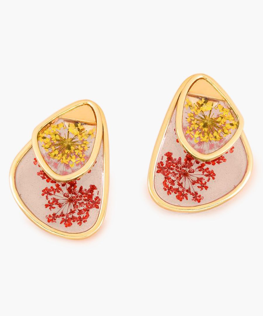 Gold-tone and red small petal earrings