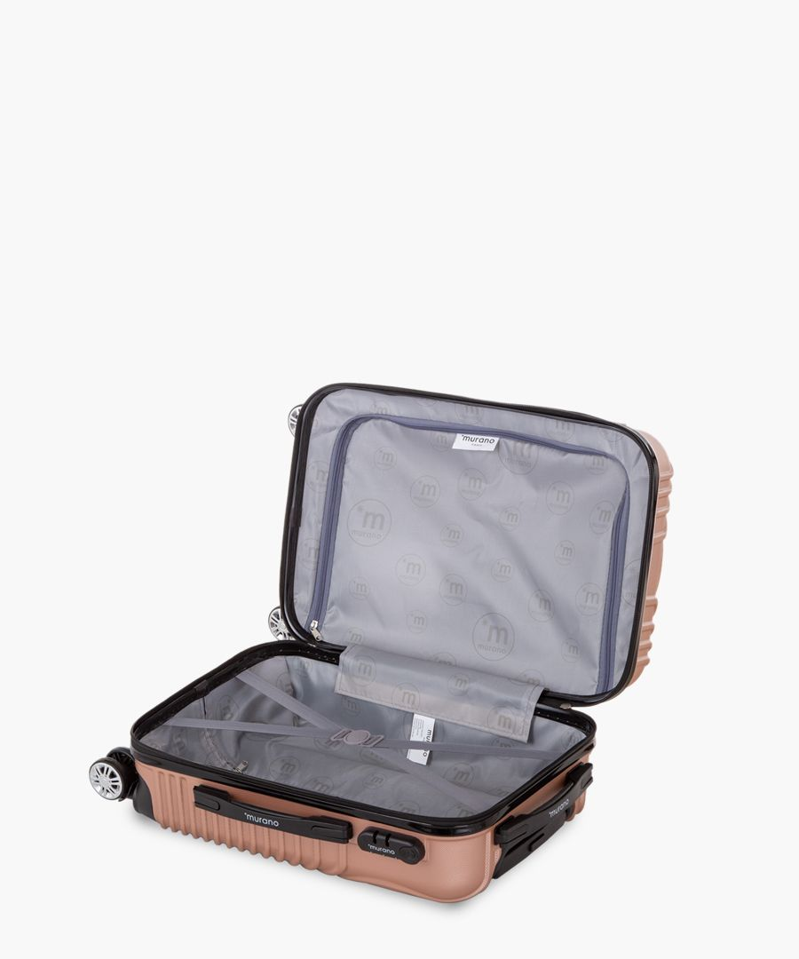 2pc rose gold-tone luggage set