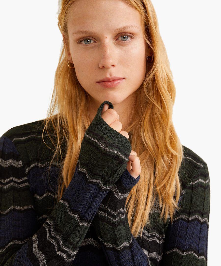 Green geometric knit sweater