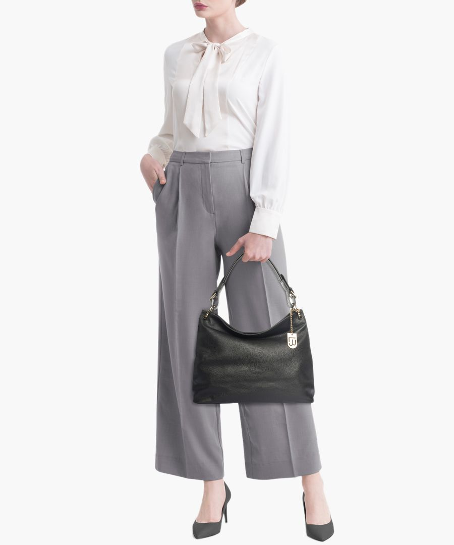 Montichiari black leather grab bag