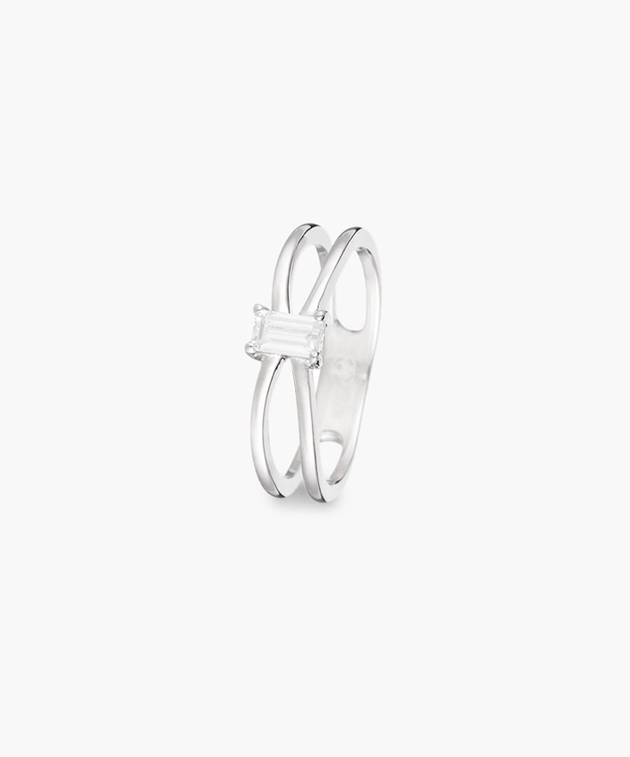 Solitaire Heureux silver ring