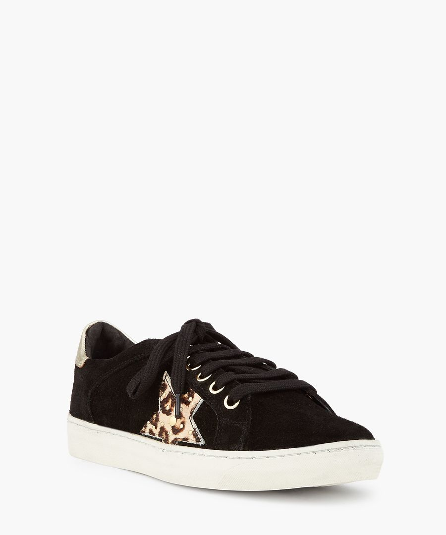 Black leopard printed trainers
