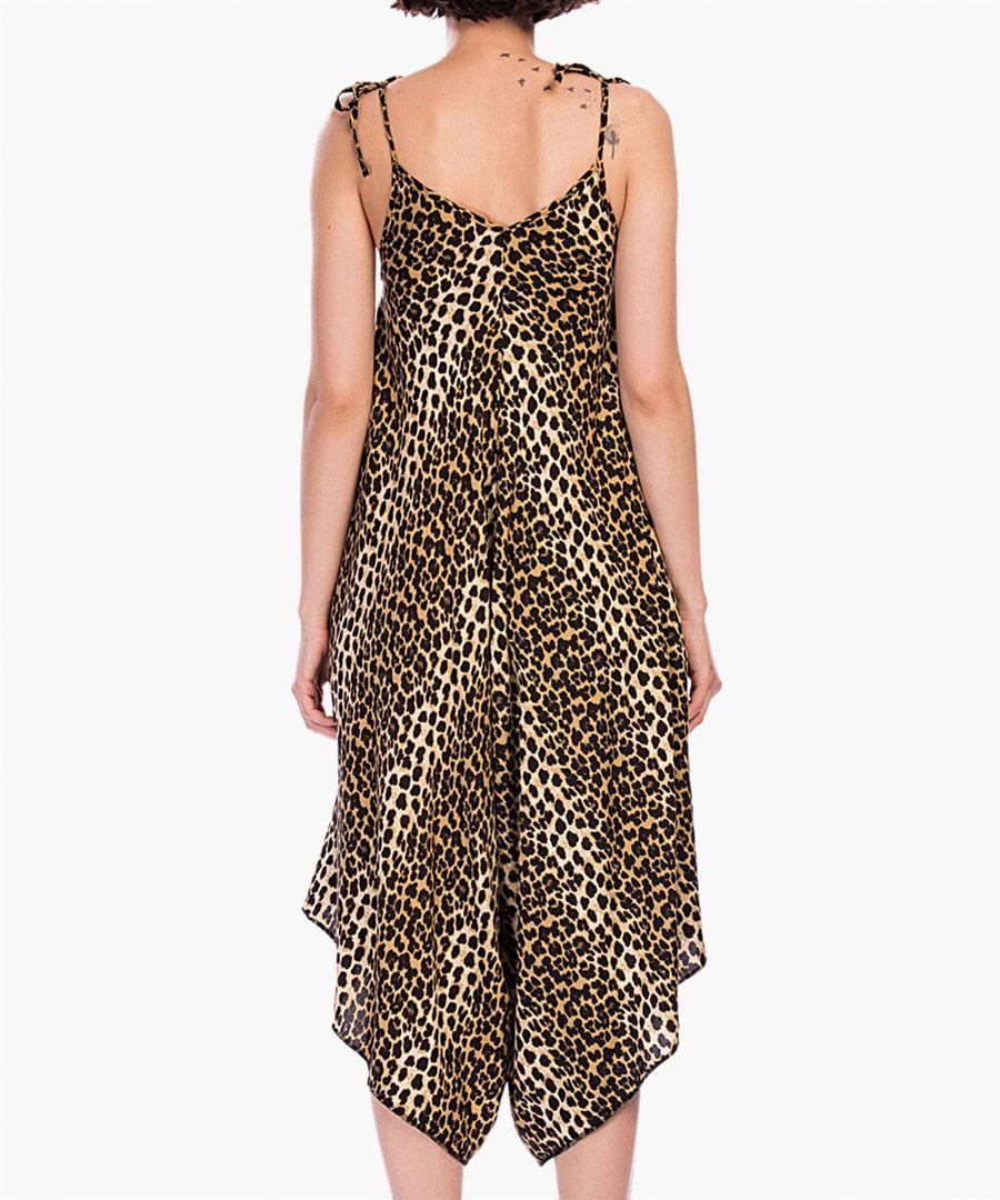 Brown leopard print drape jumpsuit