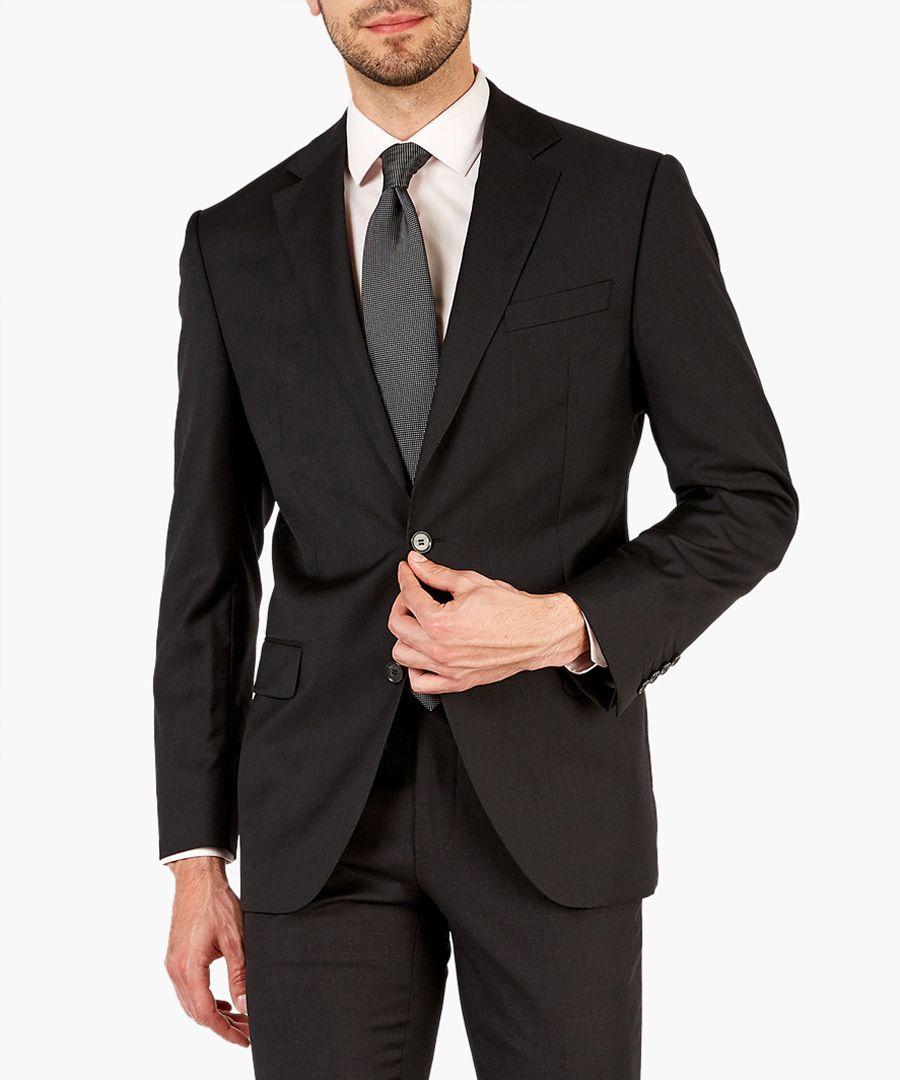 Coal black pure wool suit