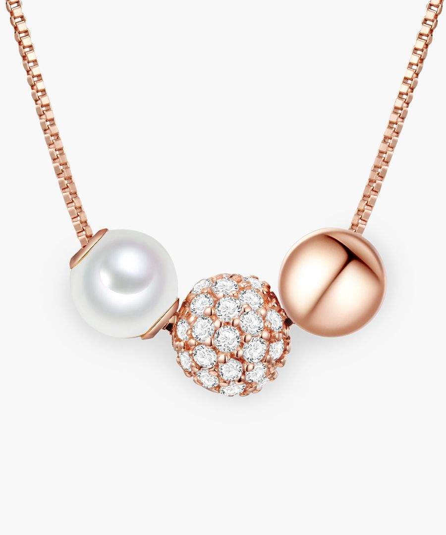 Rose gold-plated and sterling silver fresh water cultured pearl necklace