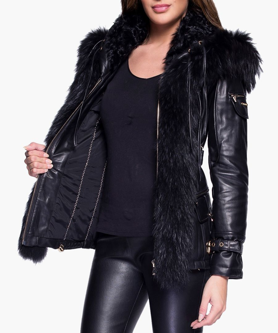Ania black leather and fur jacket