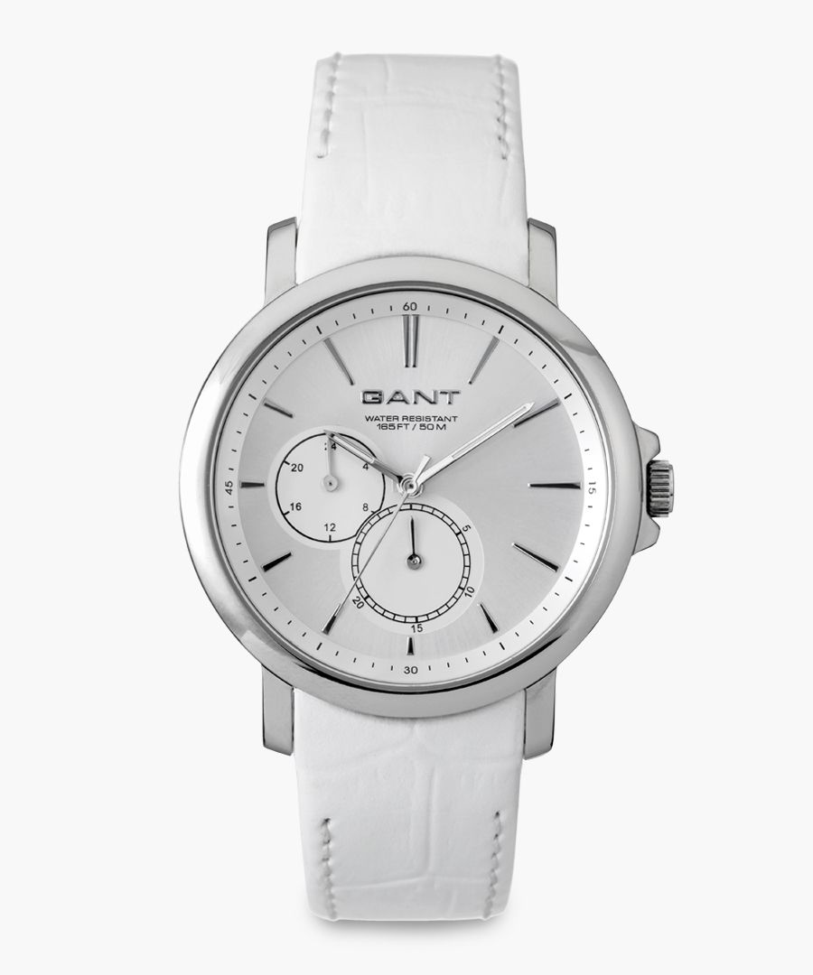 White and silver-tone watch