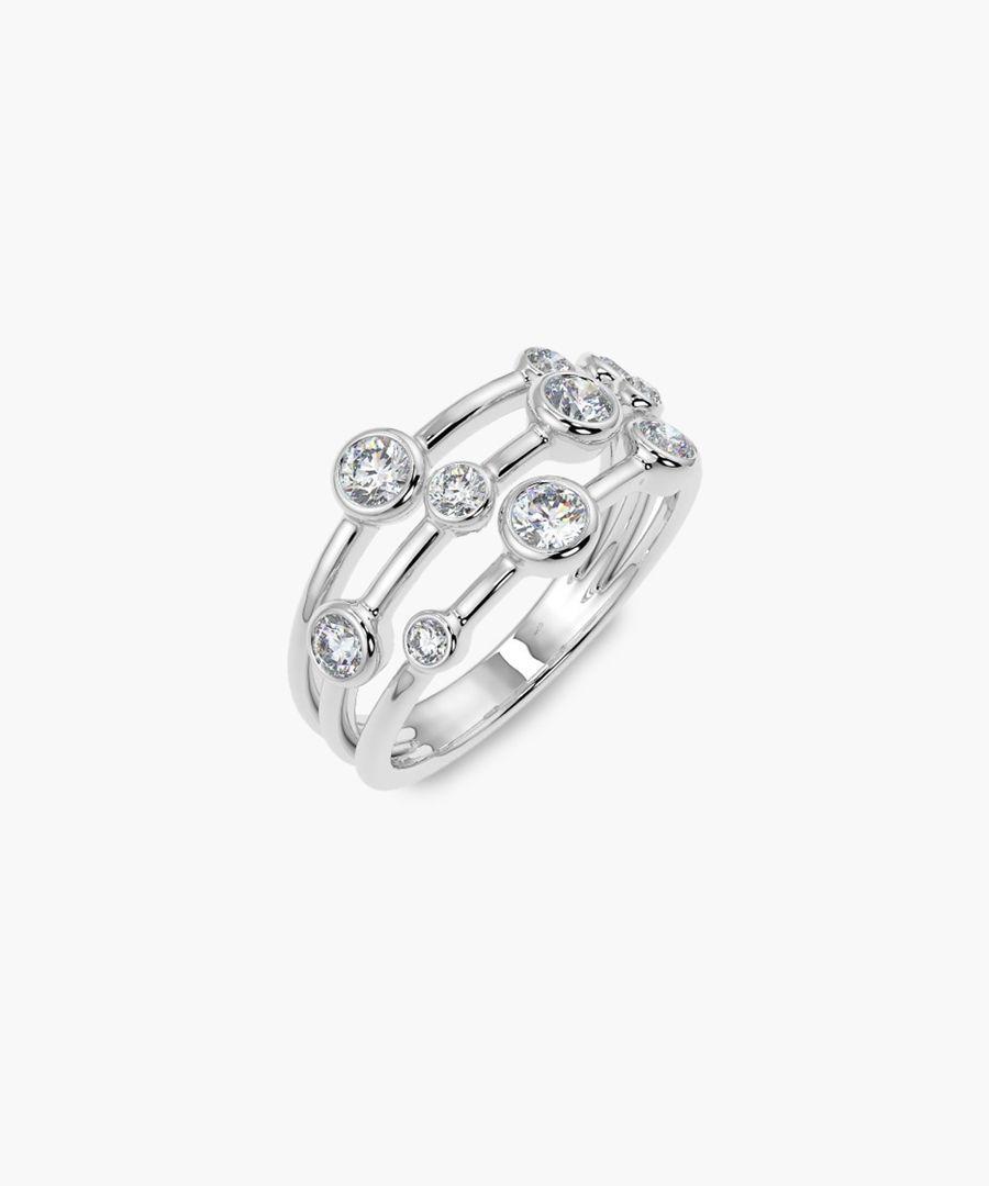 White gold 0.70ct round diamond bubble ring