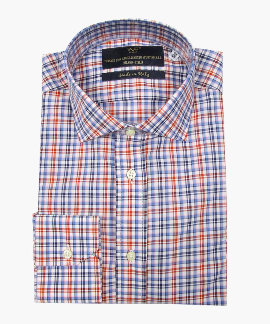 Multi-coloured pure cotton classic collar shirt