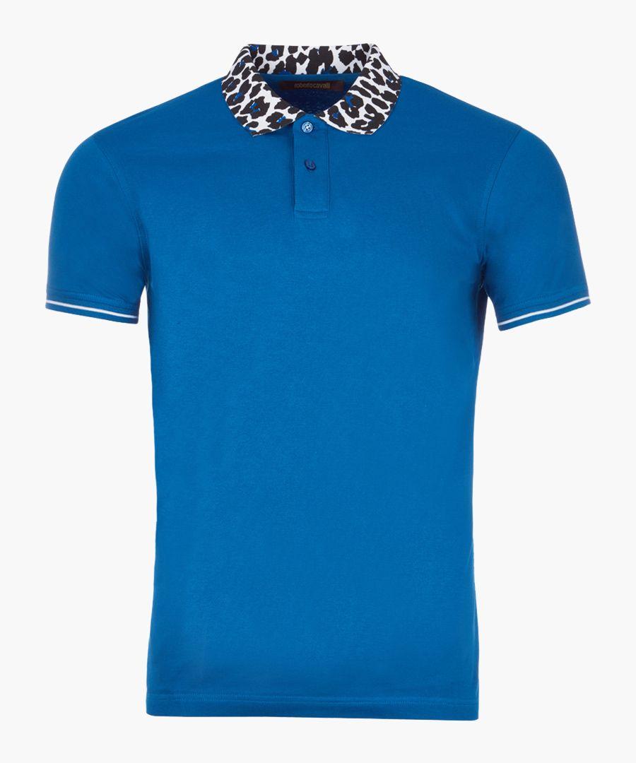 Sax & animal print cotton polo shirt