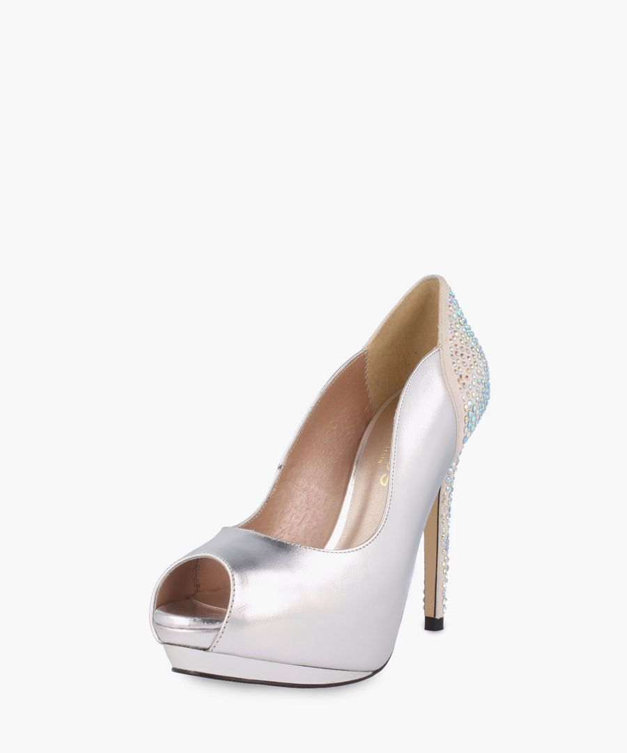 Silver-tone leather heels