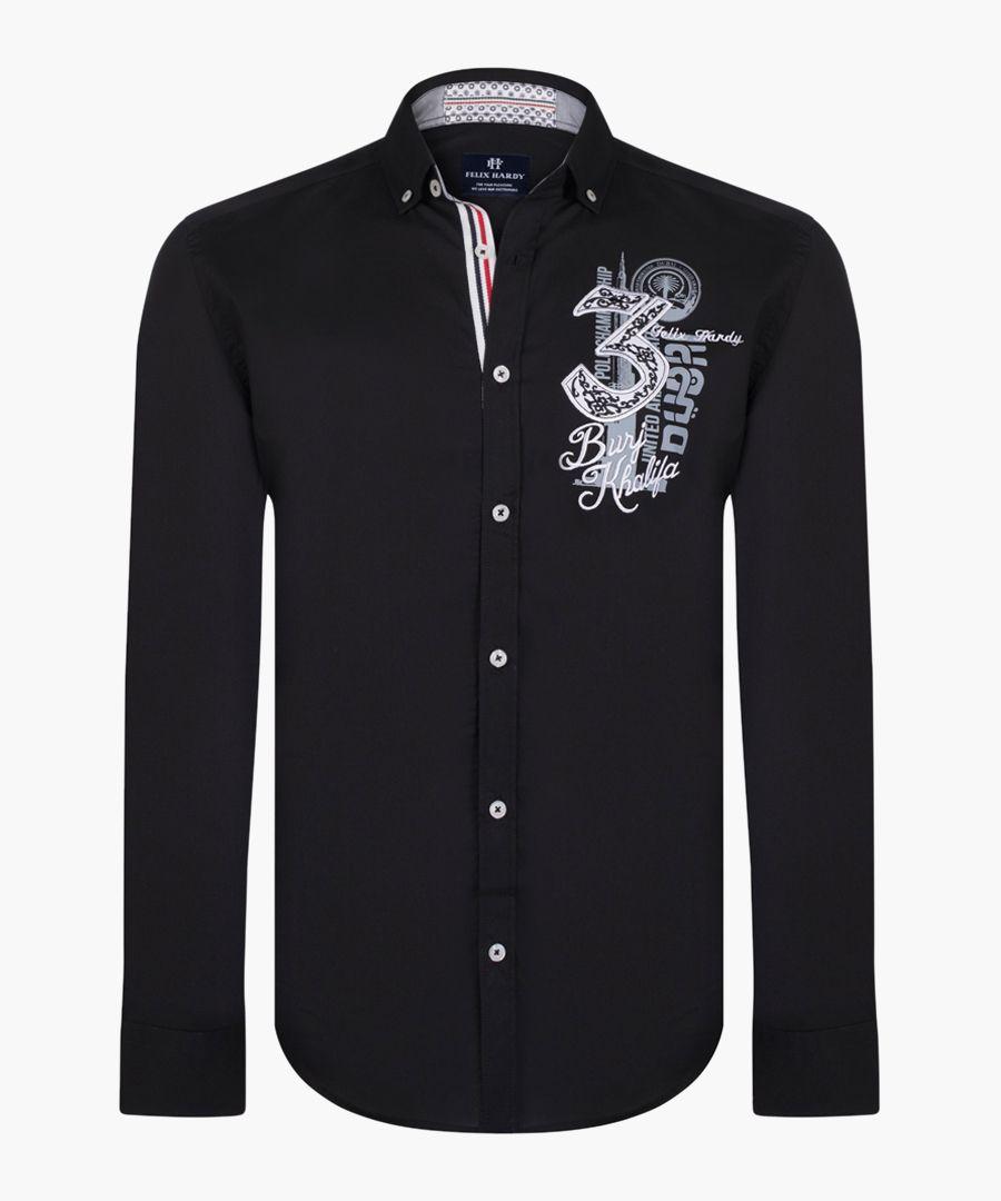 Black pure cotton collage shirt