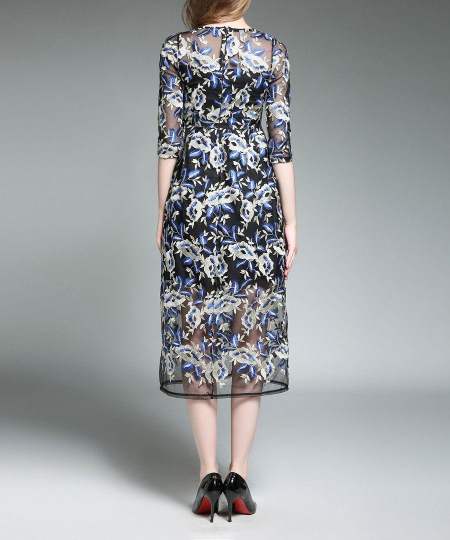 Navy & white embroidered overlay dress