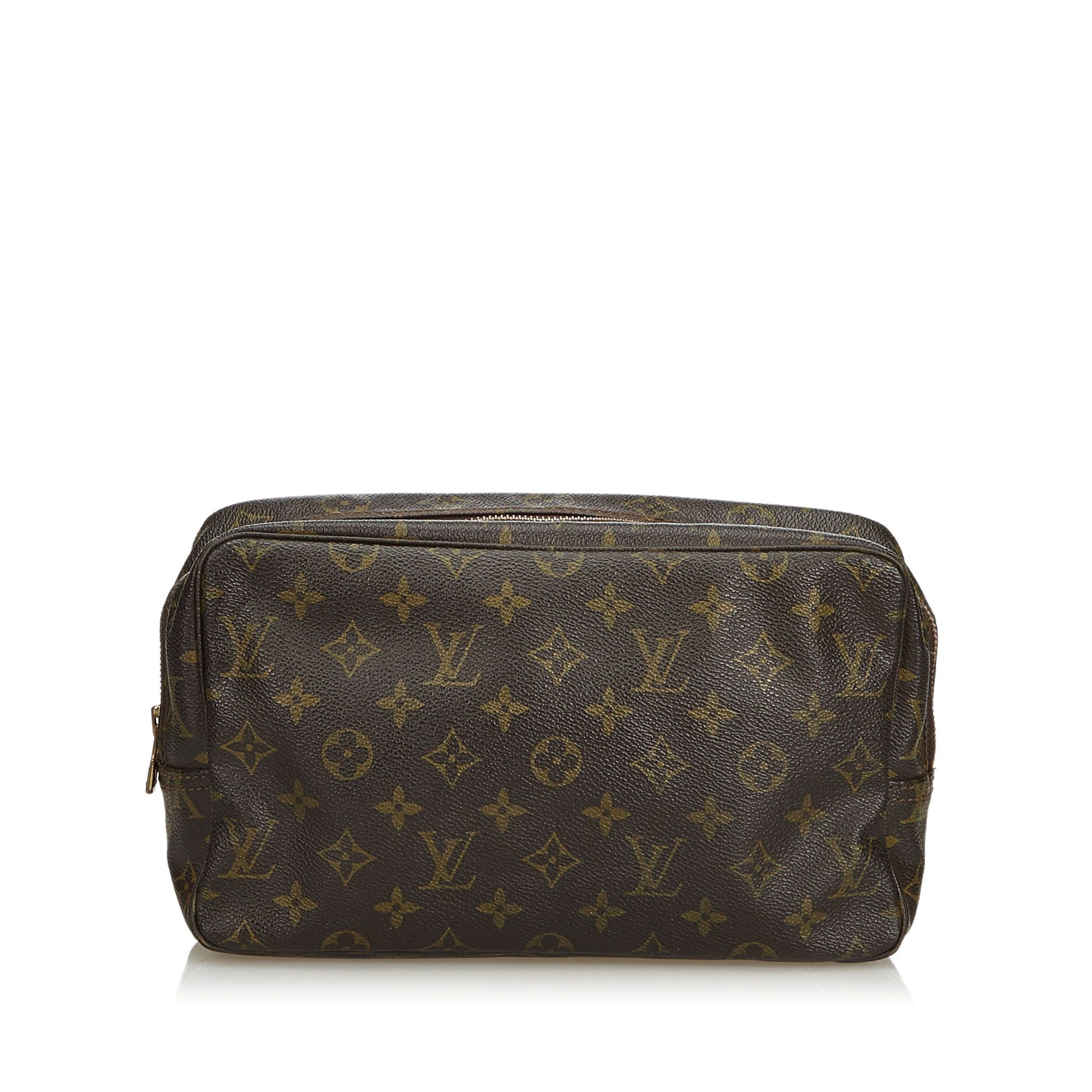 Vintage Louis Vuitton Monogram Trousse Toilette 28 Brown