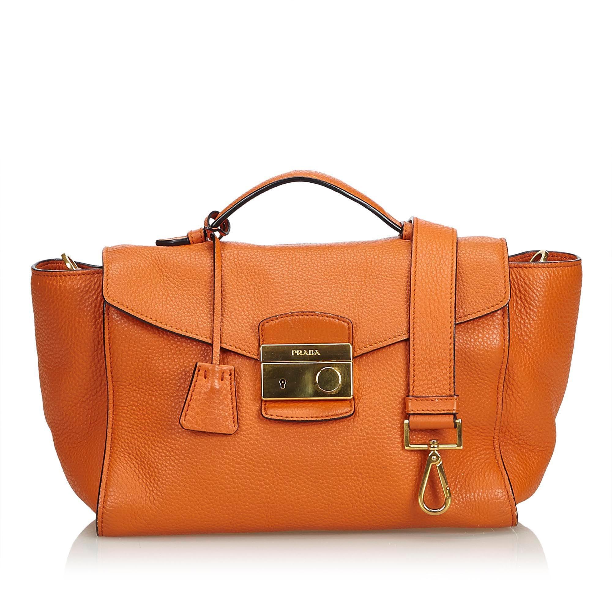 Vintage Prada Leather Satchel Orange