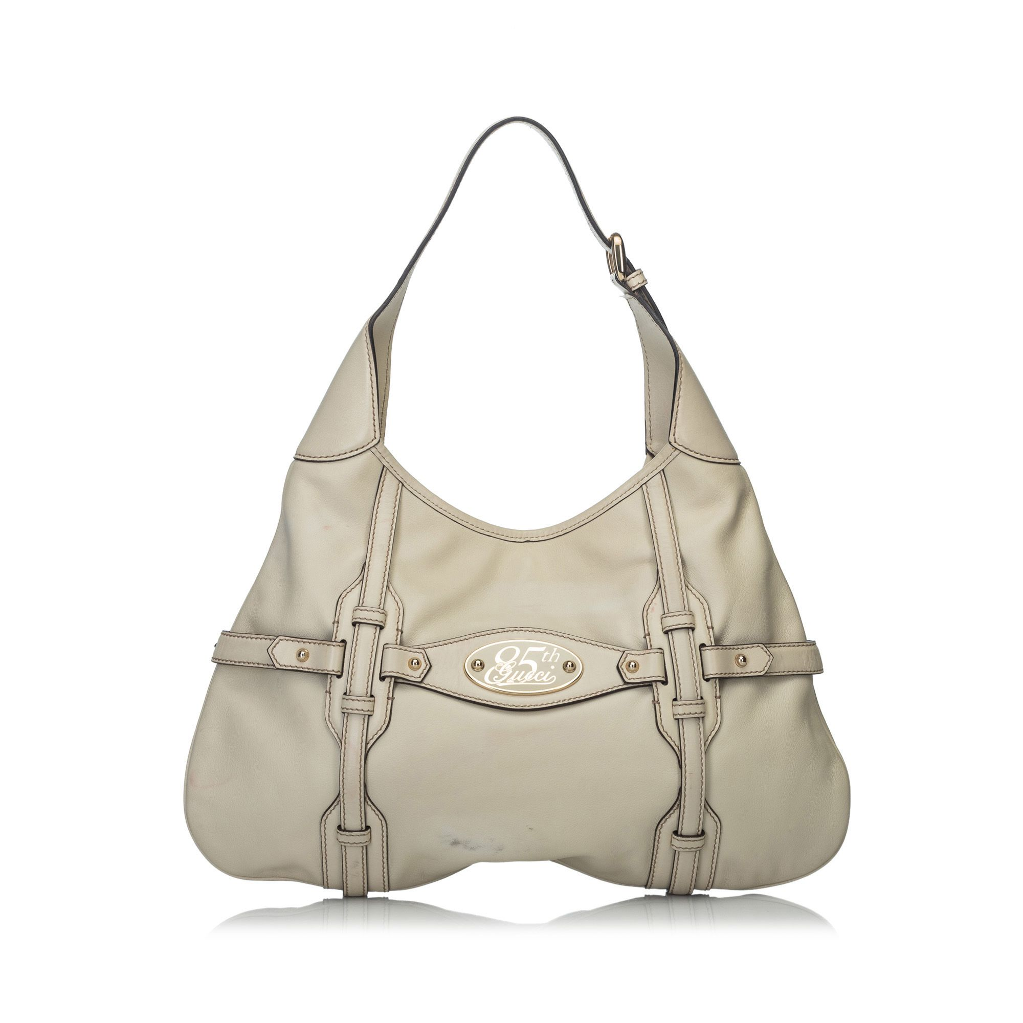 Vintage Gucci 85th Anniversary Leather Hobo Bag White