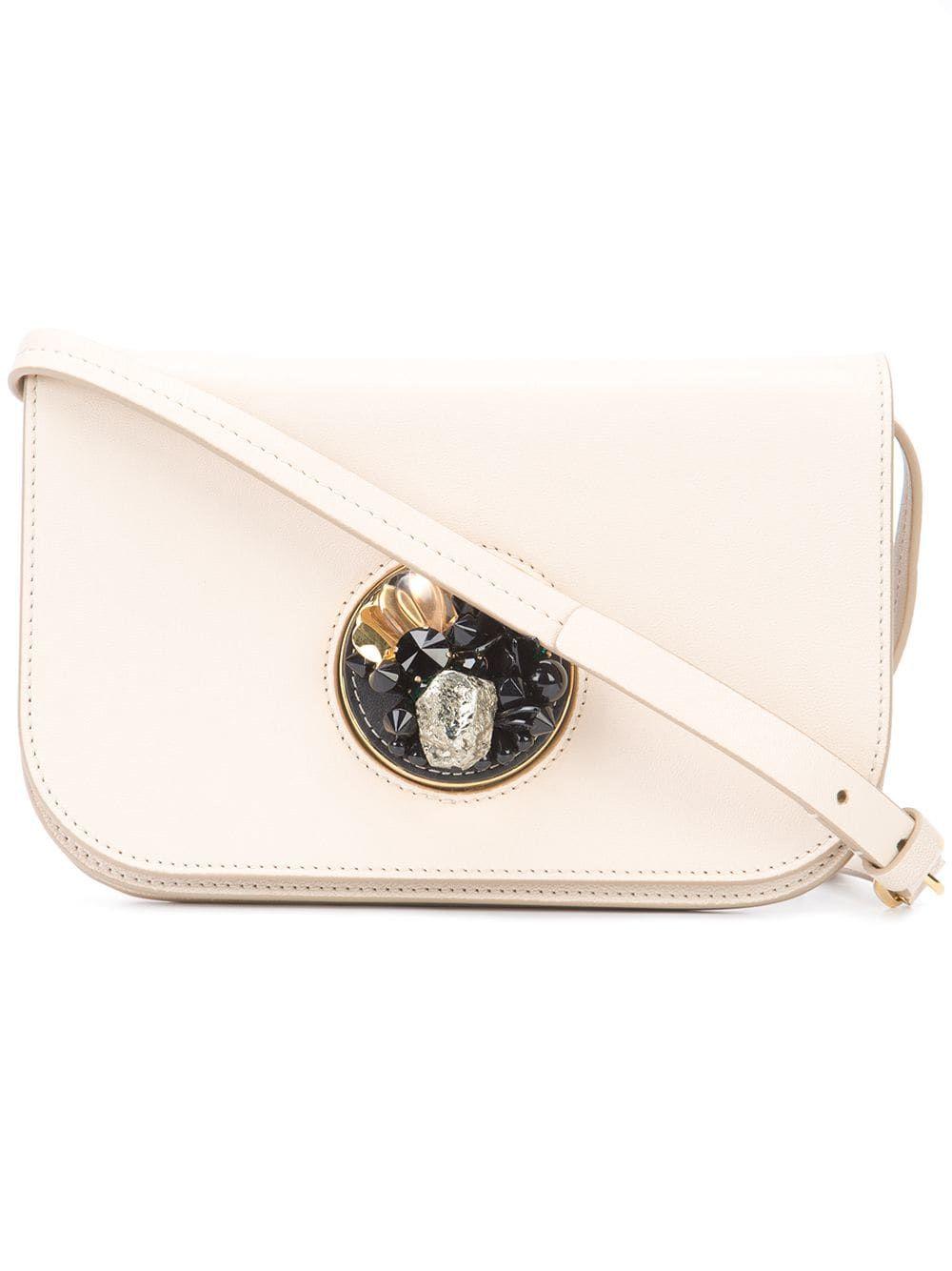 Marni Leather Pois Crossbody Bag White